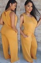 Débardeur froncé Eyeshole dos jaune et ensembles de pantalons amples W8266