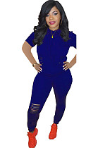 Royal Blue Side Ruched Hoodie Top & Ripped Pants Sets DN8380