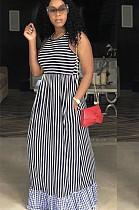 Свободное длинное платье в полоску в полоску W8267
