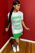 طقم قميص شورت بطبعة شعار أمامي أخضر وشورت WY6684