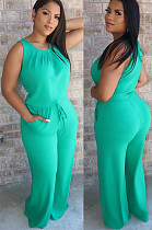 Light Green Back Eyeshole Shirred Tank Top & loose Self-tied Pants Sets W8266