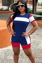 Blue Colorblock Shirt Top & Shorts Sets OEP6165
