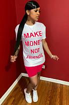 Розовая рубашка с надписью спереди и комплектом шорт WY6684