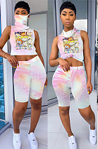 Pink Tied-dye Comic Front Print Shirt Crop Top & Shorts Sets QQM4019