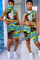Green Tied-dye Comic Front Print Shirt Crop Top & Shorts Sets QQM4019