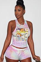 Comic Graphic &Slogan Print Tied-dye Drawstring Waist Tank Top & Elastic Self-tied Shorts Sets QQM4024