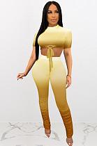 Yellow Grandient Front Kont Crop Top & Hihg Waist Ruffled Bottom Pants Sets Q522