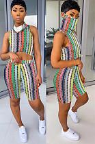 Rainbow Vertical Stripe Tied-dye Comic Front Print Shirt Crop Top & Shorts Sets QQM4019