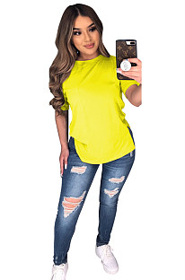 Yellow Solid Longine Utility Blouse T-shirt CYF3558