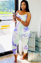 Blue White Tied-dye Bodycon Cami Jumpsuit Q543