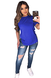Blue Solid Longine Utility Blouse T-shirt CYF3558