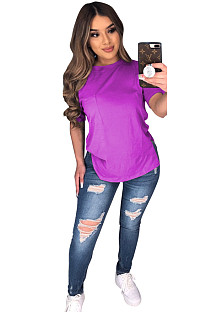 Purple Solid Longine Utility Blouse T-shirt CYF3558