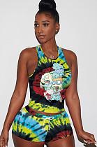 Comic Figures Print Tied-dye Drawstring Waist Tank Top & Elastic Self-tied Shorts Sets QQM4024