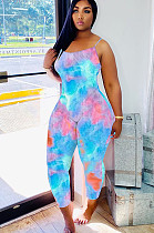 Blue Pink Tied-dye Bodycon Cami Jumpsuit Q543