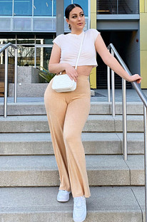 Apricot Solid High Waist Shift Long Pants CYF3538