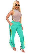 Fruit Green Solid Off Shoulder Hollow-out Side Knot Bandeau Top&Cropped Pants Sets CYF3550