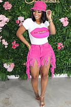 Pink Street Style Denim Tassel Mid Waist Summer Shorts Q561