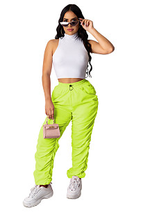 Green Solid Elastic Waist Ruched Details Jogger Pants XZ3542