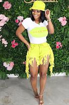 Yellow Street Style Denim Tassel Mid Waist Summer Shorts Q561