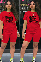 Red Solid Slogan Print Front T-shirt Top & Shorts Leggings Sets TY1828
