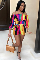 Rainbow Color Sexy Polyester Ditsy Floral Off Shoulder Belted Unitard JumpsuitKF25