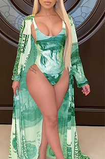 Green Sexy Knitted Dollar Graphic Scoop Neck Cloak & Bikini SY8560
