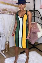 Yellow Sexy Satin drill Color stripe Deep V Neck Bodycon Skirt KF55