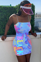 Light Blue Night Out Tie Dye Slip Dress  LMM8150