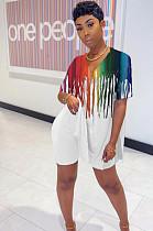 Белые сексуальные шорты из полиэстера в полоску с V-образным вырезом HG013