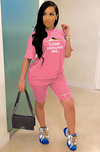 Pink Casual Letter Short Sleeve Round Neck Shorts Sets YYF8078