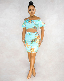 Light Blue Simplee Floral Sleeveless Strapless Flounce Sets BS1182