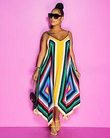 Casual Polyester Geometric Graphic Halterneck Flounce Slip Dress