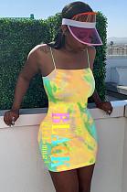 Yellow Night Out Tie Dye Slip Dress  LMM8150