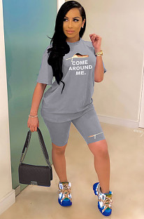 Gray Casual Letter Short Sleeve Round Neck Shorts Sets YYF8078