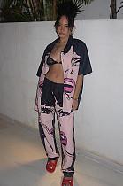 Розовая повседневная фигура с короткими рукавами с вырезом на шее и удобной блузке с средней талией Длинные брюки Устанавливает DMM8117
