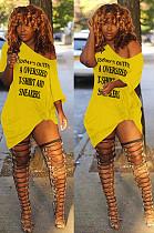 فستان بوليستر أصفر بدون أكمام بحرف DN8375