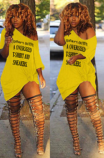 Yellow Sexy Polyester Letter Off Shoulder Shift Dress DN8375