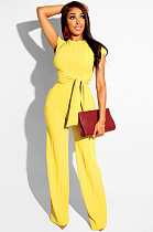 Yellow Casual Plants Short Sleeve Round Neck Waist Tie Utility Blouse High Waist Long Pants Sets SN3508