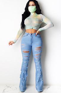 Blue Casual Polyester Ripped Flare Leg Pants MA6555