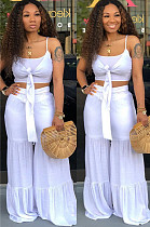 White Sexy Polyester Cold Shoulder Tie Front Crop Top White Sexy Polyester Wide Leg Pants Sets LD8331