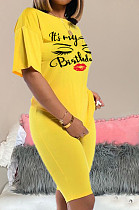 Yellow Casual Letter Short Sleeve Round Neck Shorts Sets MA6332