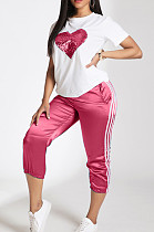 Pink Casual Polyester Heart Graphic Short Sleeve Round Neck Beaded Utility Blouse Top Cropped Pants Sets LD8710