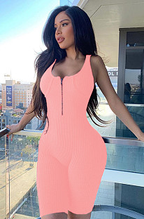 Pink Sexy Polyester Plants Sleeveless Scoop Neck Tank Jumpsuit SH7173