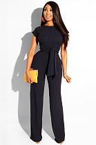 Black Casual Plants Short Sleeve Round Neck Waist Tie Utility Blouse High Waist Long Pants Sets SN3508