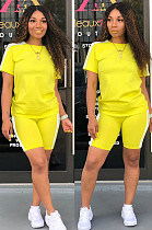 Yellow Casual Sporty Short Sleeve Round Neck Utility Blouse Skinny Top Pants Sets SN3756