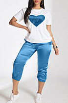 Blue Casual Polyester Heart Graphic Short Sleeve Round Neck Beaded Utility Blouse Top Cropped Pants Sets LD8710LD8710