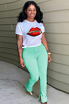 Light Green Casual Mouth Graphic Short Sleeve Round Neck Ruffle Utility Blouse Long Pants Sets MA6560