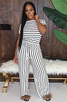 White Casual Striped Short Sleeve Round Neck Tee Top Long Pants Sets MA6554