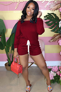 Wine Red Casual Long Sleeve Off Shoulder Drawstring Waist Tee Jumpsuit RB3061
