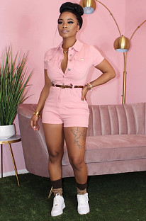 Pink Simplee Spandex Short Sleeve Lapel Neck Buttoned Bodycon Jumpsuit MA6328
